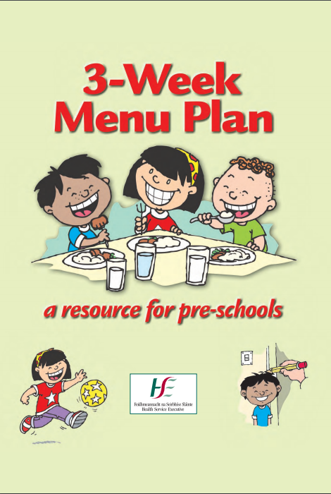 3 week Menu Plan, a Resource for Pre-schools