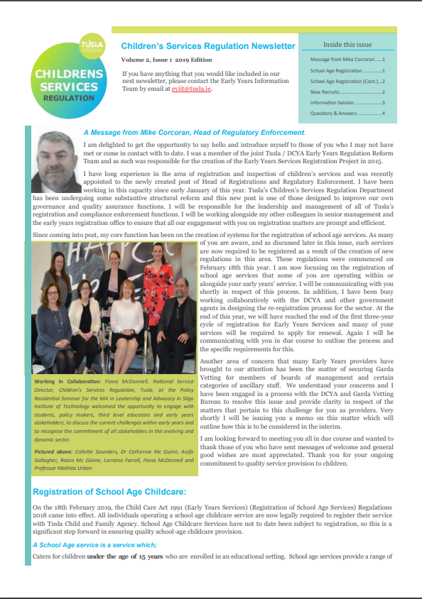 Tusla April 2019 Newsletter