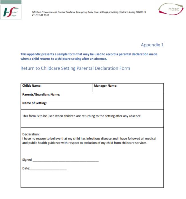 Return to Childcare Parental Declaration Form