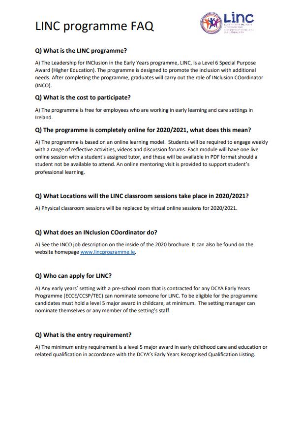 LINC FAQ 2020