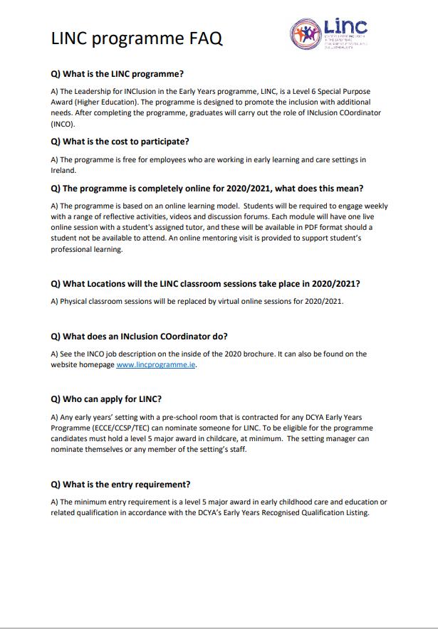 LINC FAQ document 2020