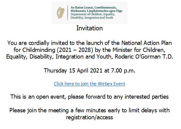Childminding Action Plan Invite