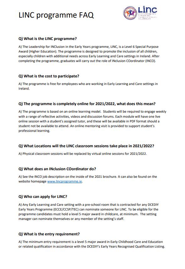 LINC FAQs