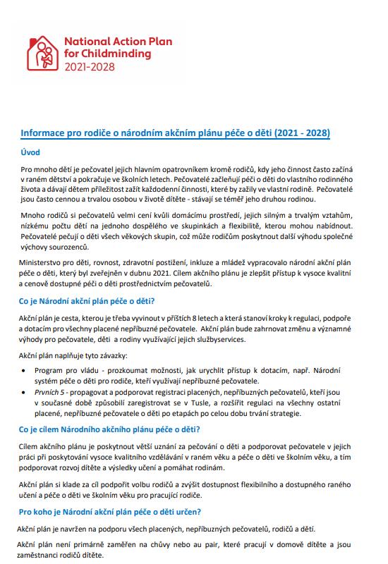 Leaflet on National Action Plan on Childminding NAPC (11 languages)