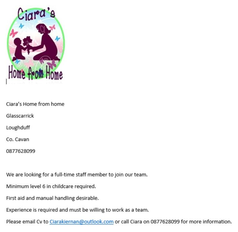 Ciara's Home from Home Job Ad